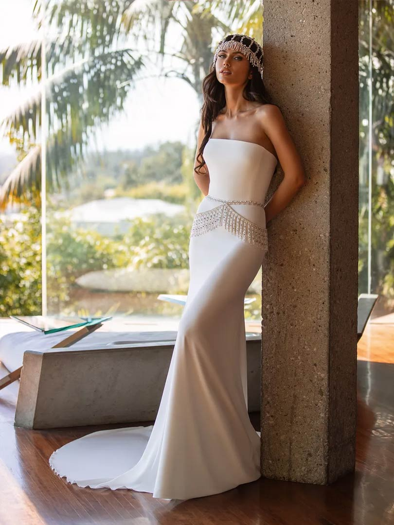 The Williams wedding dress from Pronovias Cruise collection, available from Windsor & Eton Brides