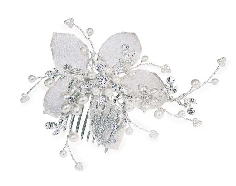 Ivory & Co - Silver Pearl Flower