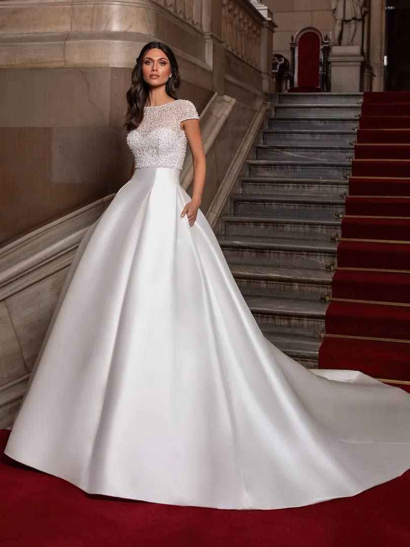 The Close wedding dress by Pronovias, available at Windsor & Eton Brides