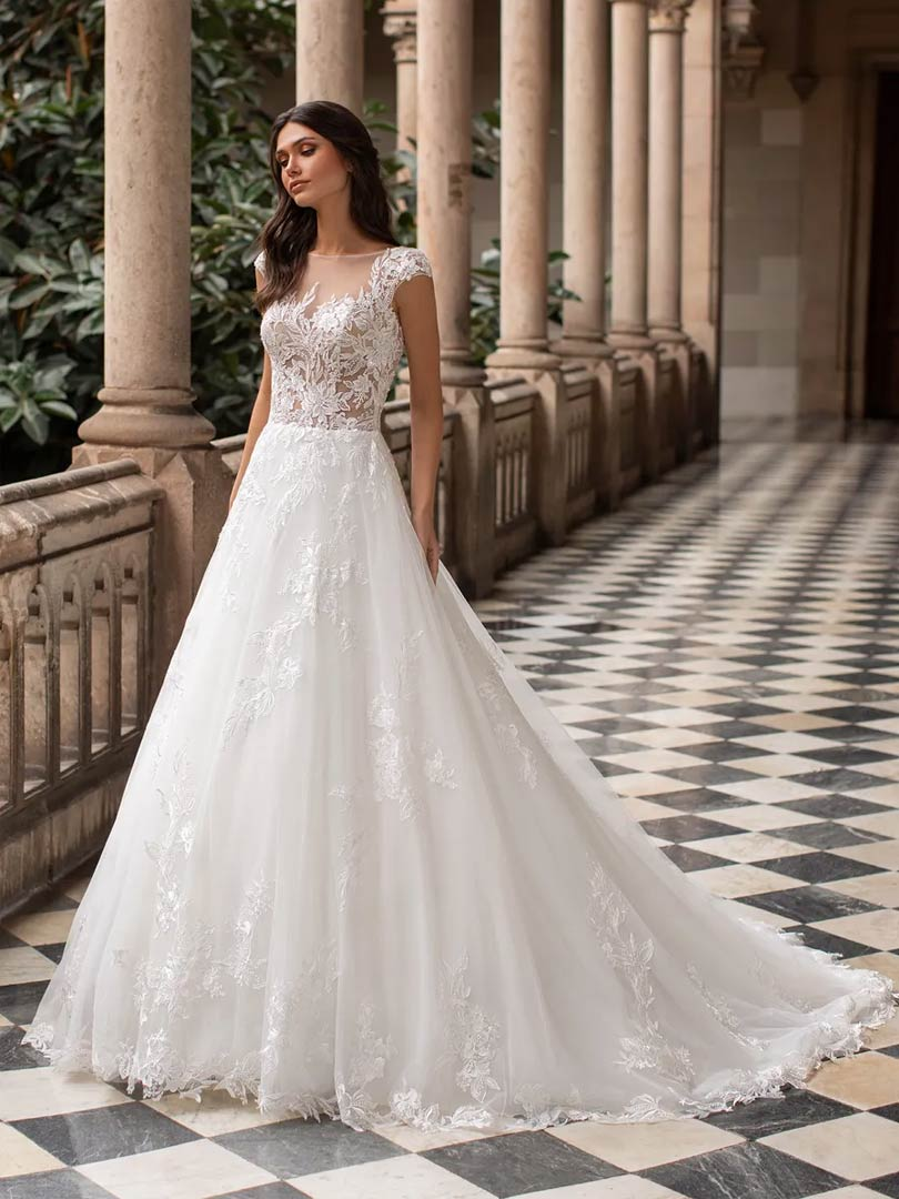 The Griffith wedding dress from Pronovias Cruise collection, available from Windsor & Eton Brides